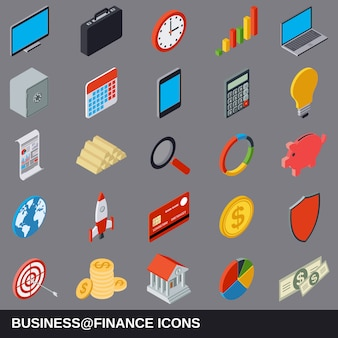 Business and finance flat isometric cartoon icon collection