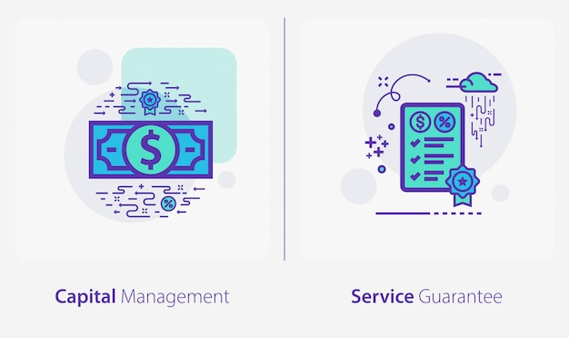 Business and finance icons, capital management, service guarantee