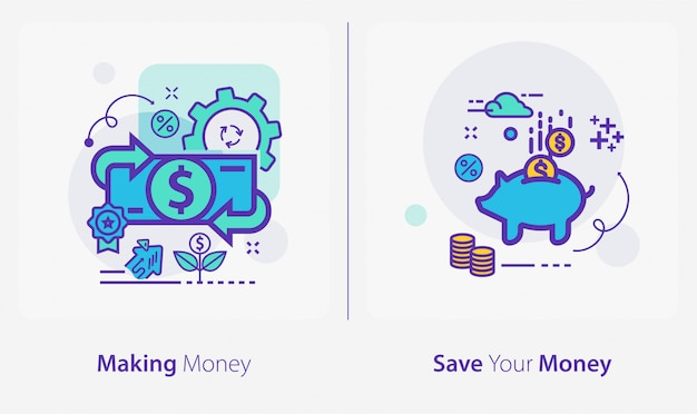 Business and finance icons, making money, save your money