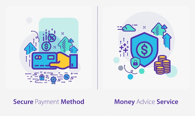 Business and finance icons, secure payment method, money advice service