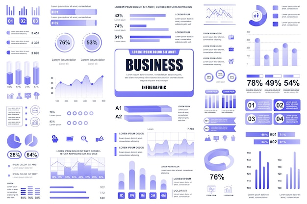 Business and finance infographic elements different charts diagrams workflow flowchart timeline