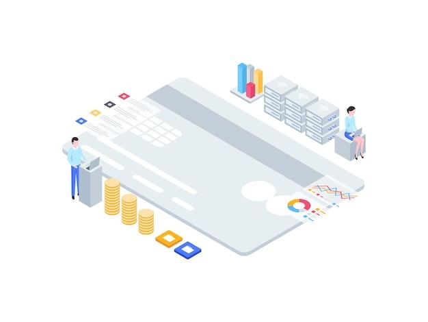 비즈니스 금융 아이소메트릭 그림입니다. 모바일 앱, 웹사이트, 배너, 다이어그램, 인포그래픽 및 기타 그래픽 자산에 적합합니다.