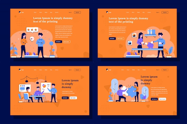 Business and finance landing page illustration in flat and outline design style Premium Vector