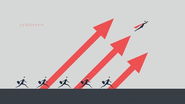 Деловые финансы. концепция лидерства, управляет финансовым ростом. иллюстрация плоский дизайн