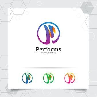 사업 금융에 대 한 현대적인 색상으로 비즈니스 금융 편지 p 로고 디자인 벡터.