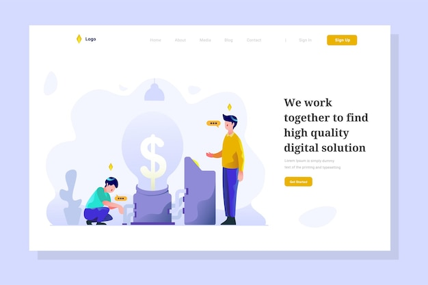 Business and finance man analysis idea bulb people character flat design style