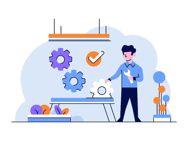 Бизнес-финансы человек делает улучшение регулирования стратегии управления стиль дизайна плоский контур