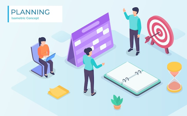 Business finance schedule with  isometric design concept