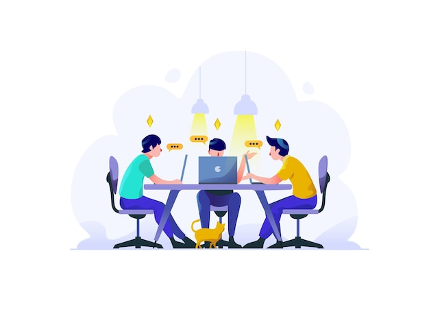 Business finance team discuss idea brainstorming to solve problem strategy flat style illustration