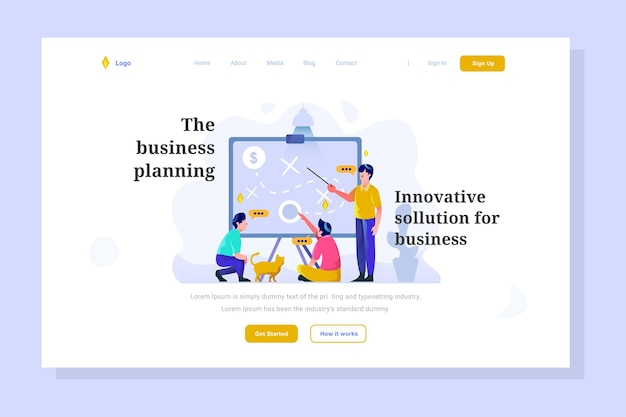 Business finance team discuss tactic strategy idea flat style landing page illustration