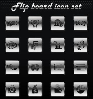 Business finance vector flip mechanical icons for user interface design