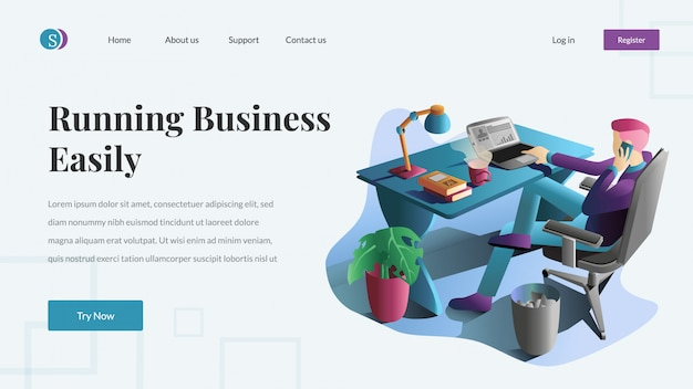 Business and finance website vector illustration