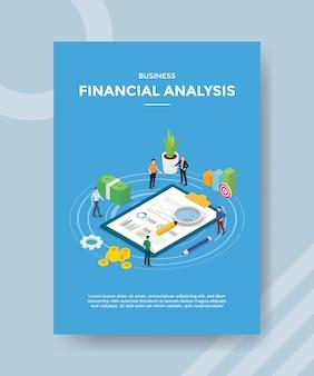 ビジネス財務分析の人々は、バナーとチラシのテンプレートの統計ドキュメントチャートのお金を測定します