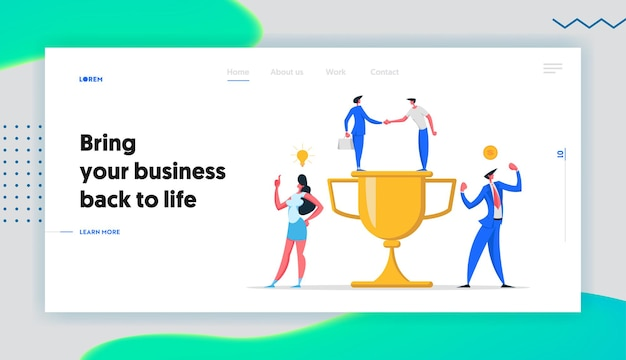 Business financial creative success cooperation concept landing page set