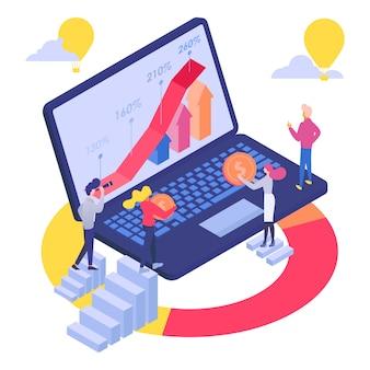 Иллюстрация роста финансовых инвестиций бизнеса. концепция работы финансов на ноутбуке, мужчина женщина персонаж анализировать денежный доход