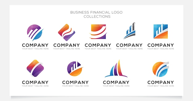 Business financial logo collection for company or agency