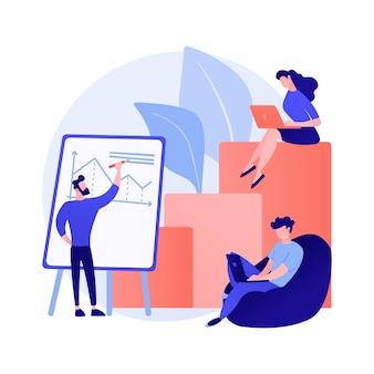 事業財務報告。起業家の漫画のキャラクターがビジネスプランを書き、データと統計を分析します。グラフィック、情報、研究。