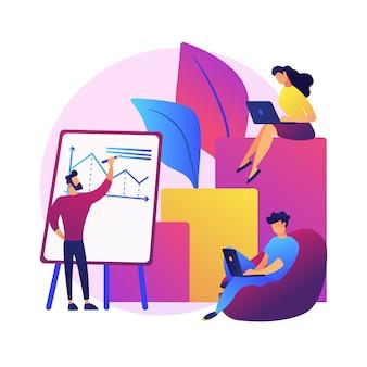 사업 재무 보고서. 기업가 만화 캐릭터는 사업 계획을 작성하고 데이터 및 통계를 분석합니다. 그래픽, 정보, 연구