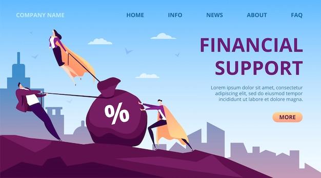 Финансовая поддержка бизнеса со стороны людей-героев, иллюстрация супер-лидера. успешная помощь для мужской работы, исполнительного руководства женщина-муха. группа рабочих помощников, менеджер в накидке.
