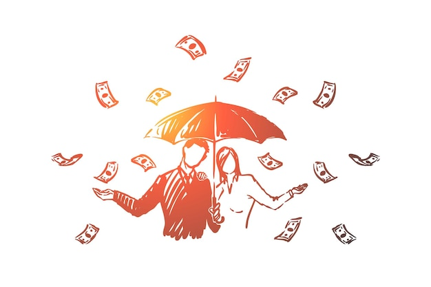 現金雨のイラストの下で傘を持つビジネス金融業者