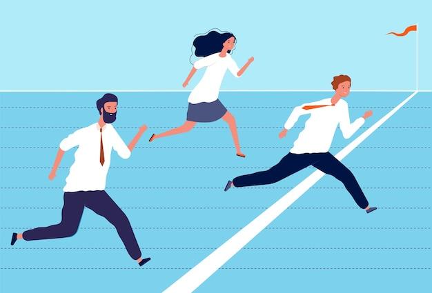 비즈니스 결승선. 최고 관리자 및 근로자 그룹은 비즈니스 성공과 리더십 개념 문자를 완료합니다. 결승선에 걸친 성공 리더십의 그림