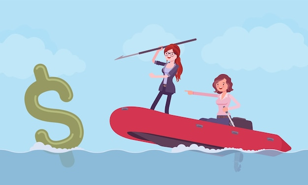 Business fishing for money with harpoon