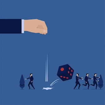 Business flat  concept hand drop dice and team run scary metaphor of risk and opportunity.