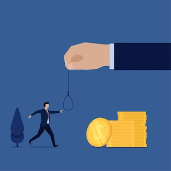 Business flat  concept man walk on to money and hand hold rope metaphor of trap.