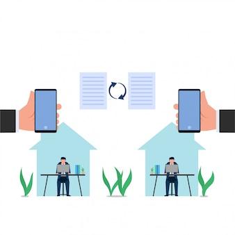 Люди концепции дела плоские работают от дома с умным телефоном потому что вирус короны.