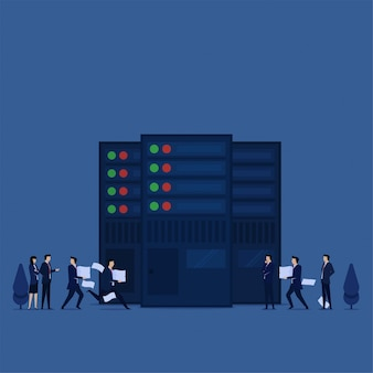 Business flat concept team bring papers to data center metaphor of big data collecting.