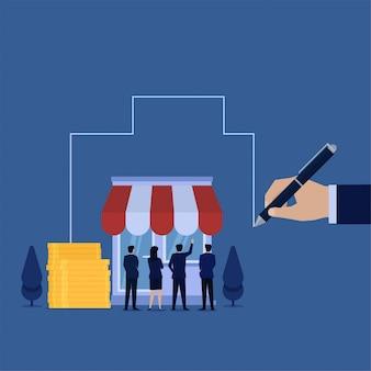 Стенд команды концепции дела плоский перед магазином и рука рисуют большую метафору развития.