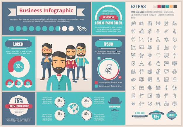 Business flat design infographic template and icons set