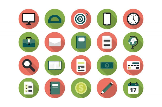Business flat icon collection
