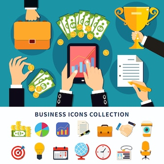 Business flat icons collection