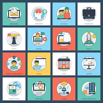 Business flat icons pack