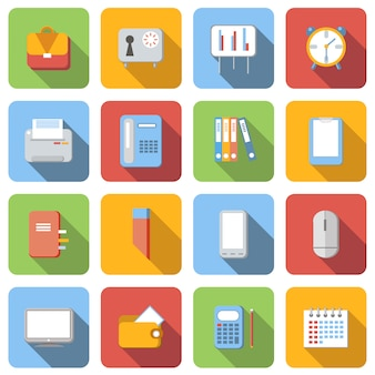 Business flat icons set images with long shadow in square,