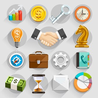 Business flat illustration color set.