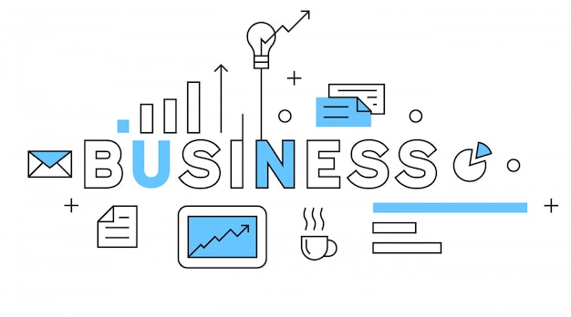 Business flat line design in blue
