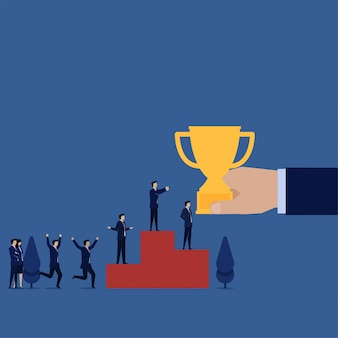 Business flat manager get trophy for successful on podium metaphor of teamwork.