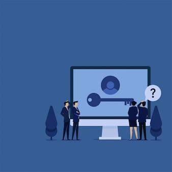 パスワードを忘れた場合の画面でキーが見つからないのを見ながら、ビジネスフラットチームは混乱します。