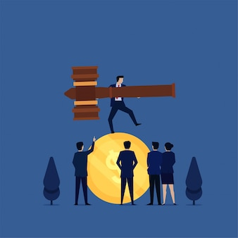 Business flat vector concept businessman juggling with law hammer above coin metaphor of money and law game.