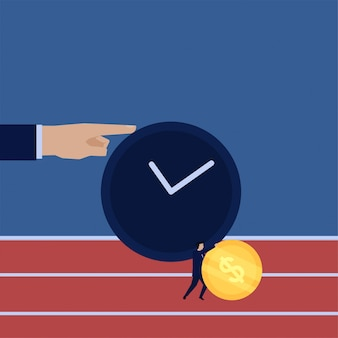 Business flat vector concept businessman push the coin to run with time metaphor of time management.