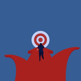 Business flat vector concept businessman run straight to target metaphor of focus.