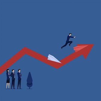 ビジネスフラットベクトルコンセプトマネージャーは、利益のためにリスクを取ることのグラフの比withで別の紙飛行機にジャンプします。