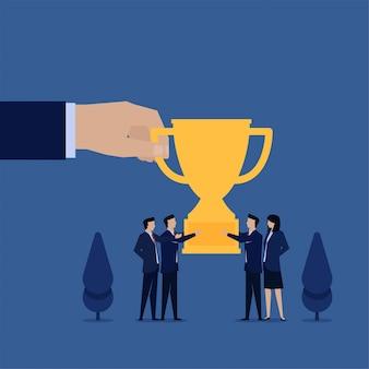 Business flat vector concept people get trophy metaphor of team achievement.