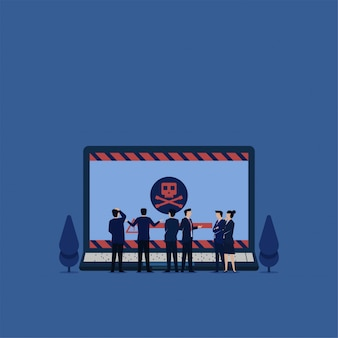 Business flat vector concept team confuse to see laptop with virus metaphor of ransomware.