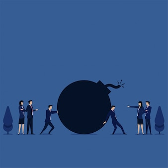 Business flat vector concept team fight for bomb metaphor of fighting over responsibility.