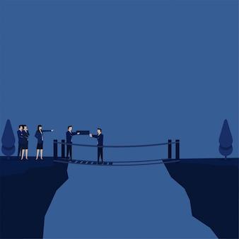 Business flat vector concept team fix the bridge together metaphor of teamwork.