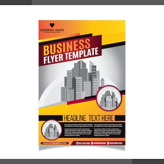 Business flayer template with red and orange