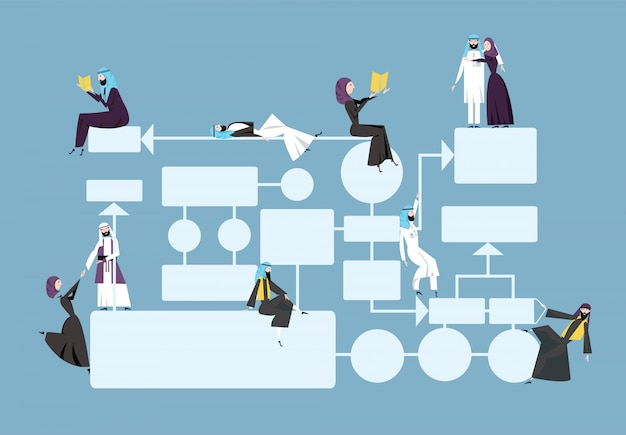 Business flowchart, process management diagram with arab businessmans characters.  illustration on blue background.